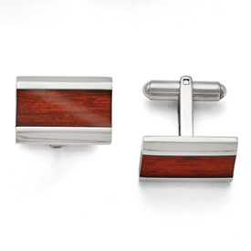 Stainless Steel Polished Red Wood Inlay Cuff Links