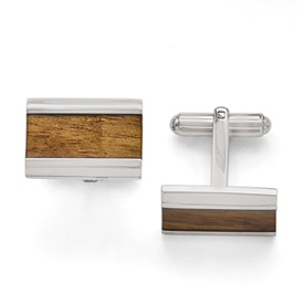 Stainless Steel Polished Light Brown Wood Inlay Enameled Cufflinks