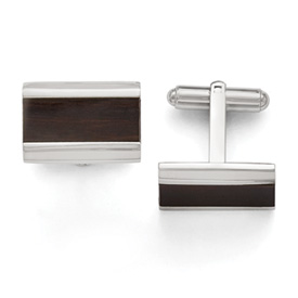 Stainless Steel Polished Black Wood Inlay Enameled Cuff Links