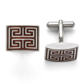 Stainless Steel Polished Wood Inlay Cufflinks