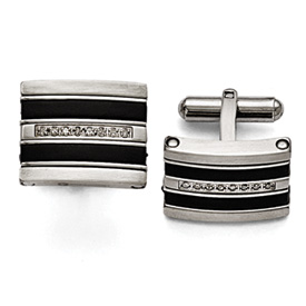 Stainless Steel Polished/Brushed Black Rubber 0.15ct.tw. Diamond Cuff Link