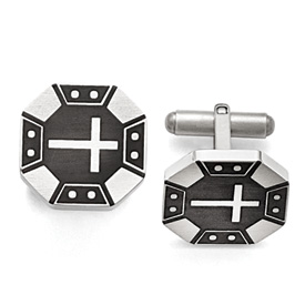 Stainless Steel Matte Black IP-plated Cross Cufflinks