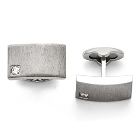 Stainless Steel Polished and Brushed CZ Cuff Links