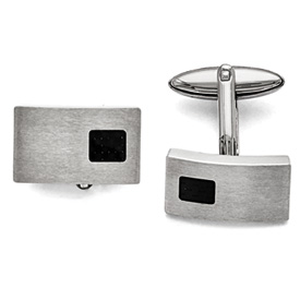 Stainless Steel Polished and Brushed Black Carbon Fiber Inlay Cuff Links