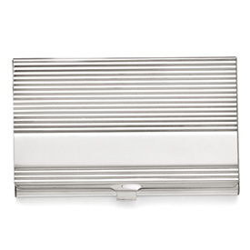Stainless Steel Polished and Grooved Card Holder