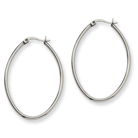 Chisel Stainless Steel 30mm Diameter Oval Hoop Earrings