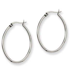 Chisel Stainless Steel 25mm Diameter Oval Hoop Earrings