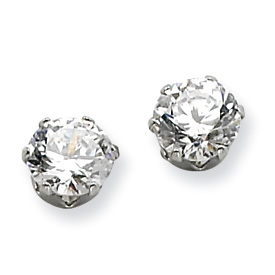 Chisel Stainless Steel 6mm CZ Stud Earrings