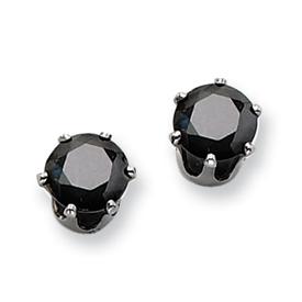 Chisel Stainless Steel 6mm Black CZ Stud Earrings