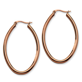 Chisel Stainless Steel Chocolate Plated 50mm Oval Hoops