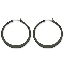 Chisel Stainless Steel Black-plated 34mm Hoop Earrings
