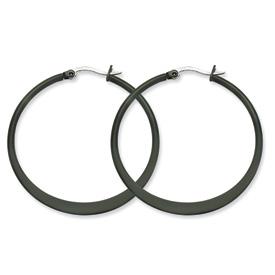 Chisel Stainless Steel Black-plated 43mm Hoop Earrings