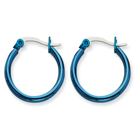 Chisel Stainless Steel Blue 19mm Hoop Earrings
