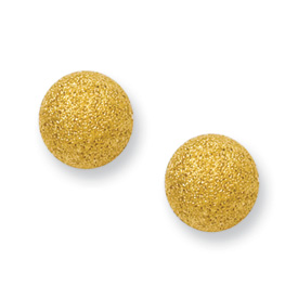 Chisel Stainless Steel Gold-plated Laser Cut 8mm Bead Post Earrings