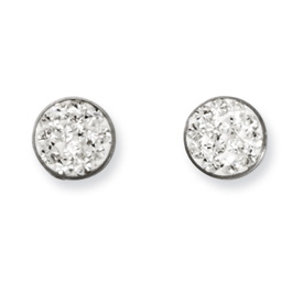 Chisel Stainless Steel Clear Crystal Post Earrings