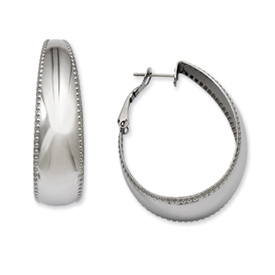 Chisel Stainless Steel Textured Edge 40mm Oval Hoop Earrings