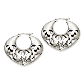 Chisel Stainless Steel 40mm Fancy Cut-out Hoop Earrings