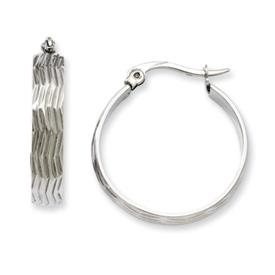 Chisel Stainless Steel Textured Hoop Earrings