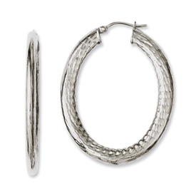Chisel Stainless Steel Textured Hollow Oval Hoop Earrings