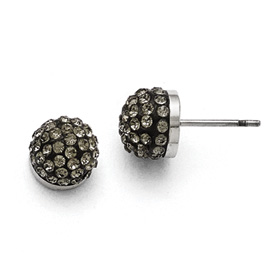 Stainless Steel Polished Black Enamel w/Crystals Post Earrings