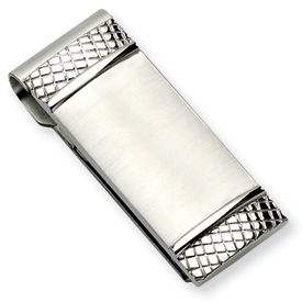 Chisel Stainless Steel Brushed and Textured Money Clip