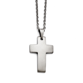 Chisel Stainless Steel Brushed Cross Necklace