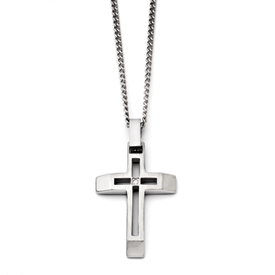 Chisel Stainless Steel Brushed and Polished Cross with CZ Necklace