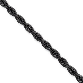 Chisel Stainless Steel Black-plated 4.0mm 18 inch Rope Chain