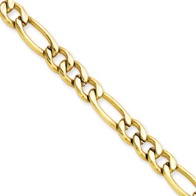 Chisel Stainless Steel Gold-plated 6.30mm 20 inch Figaro Chain