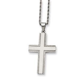 Chisel Stainless Steel Laser Cut Edges Cross Pendant 24 inch Necklace