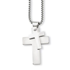 Chisel Stainless Steel Polished Crosses Pendant 24 inch Necklace