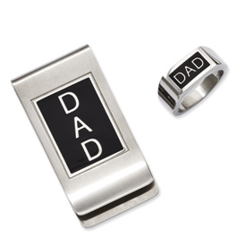 Chisel Stainless Steel Black Enamel Dad Money Clip and Ring Set