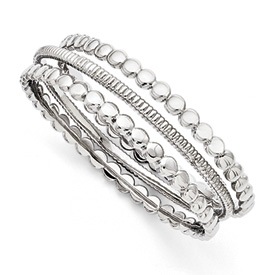 Chisel Stainless Steel Polished 3-piece Bangle Set