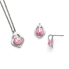 Stainless Steel Polished w/Pink CZ Necklace & Earring Set