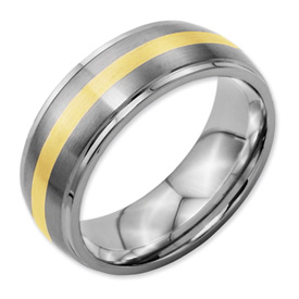 Chisel Titanium 14k Gold Inlay 8mm Brushed and Polished Band