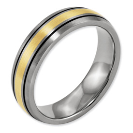 Chisel Titanium 14k Gold Inlay 6mm Brushed and Antiqued Band