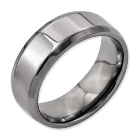 Chisel Titanium Beveled Edge 8mm Polished Band