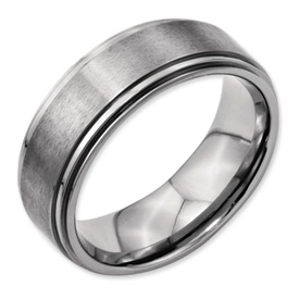 Chisel Titanium Ridged Edge 8mm Satin and Polished Band