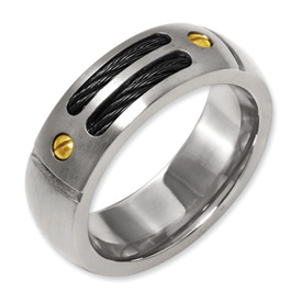 Chisel Titanium Black-plated 24k Gold Plated Accent 8mm Brushed Band