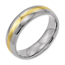 Chisel Titanium 14k Gold Inlay 6mm Polished Band