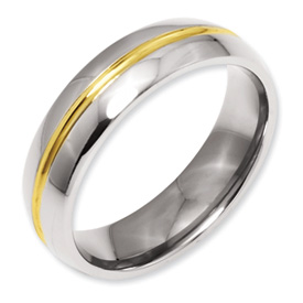 Chisel Titanium 14k Gold Plated 6mm Polished Band