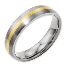 Chisel Titanium and 14k Inlay Brushed 5mm Wedding Band
