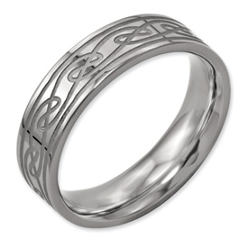 Chisel Titanium Celtic Knot 6mm Brushed and Polished Band