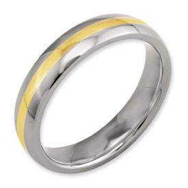Chisel Titanium 14k Gold Inlay 5mm Polished Band