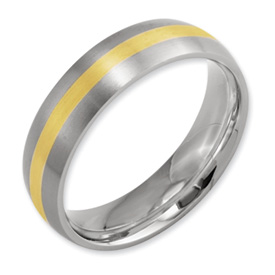 Chisel Titanium 14k Gold Inlay 6mm Brushed Band