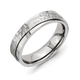 Chisel Titanium 6mm Hammered and Polished Band