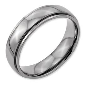 Chisel Titanium Polished Ridged Edge 6mm Wedding Band