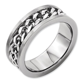 Chisel Titanium 7mm Chain Inlay Brushed Band