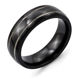 Chisel Titanium Two-tone 7mm Grooved Brushed and Polished Band