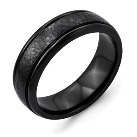 Chisel Titanium Hammered Black 7mm Brushed Band